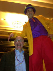 Ray with stilt walker Brian Rudo